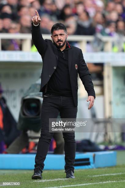 Manager of AC Milan Gennaro Gattuso gestures during the serie A match between ACF Fiorentina and AC Milan at Stadio Artemio Franchi on December 30...