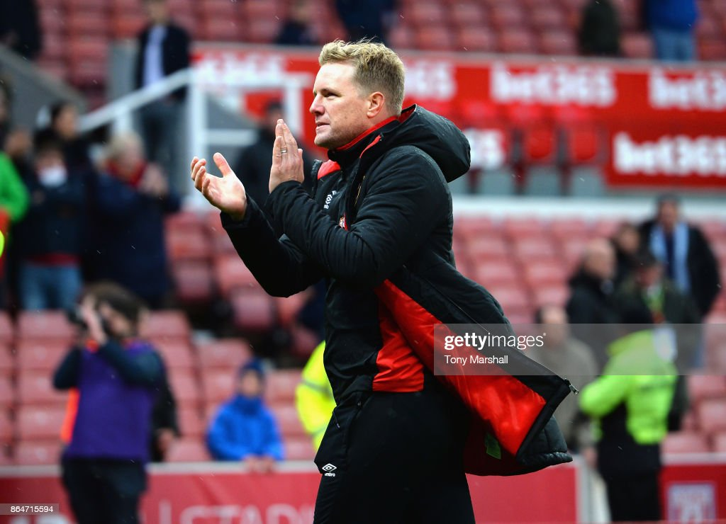 Manager of AFC Bournemouth Eddie Howe applauds the fans at the end of the game during the Premier League match between Stoke City and AFC Bournemouth at Bet365 Stadium on October 21, 2017 in Stoke on Trent, England.