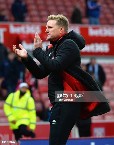 Manager of AFC Bournemouth Eddie Howe applauds the fans at the end of the game during the Premier League match between Stoke City and AFC Bournemouth...