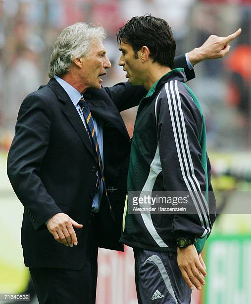 Manager of Argentina Jose Pekerman argues with the fourth official during the FIFA World Cup Germany 2006 Quarterfinal match between Germany and...