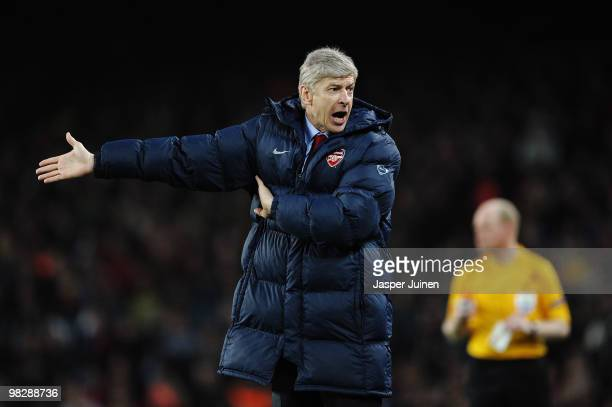 Manager of Arsenal Arsene Wenger shouts at the officials during the UEFA Champions League quarter final second leg match between Barcelona and...