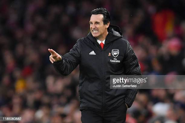 Manager of Arsenal, Unai Emery makes a point during the Premier League match between Arsenal FC and Wolverhampton Wanderers at Emirates Stadium on...