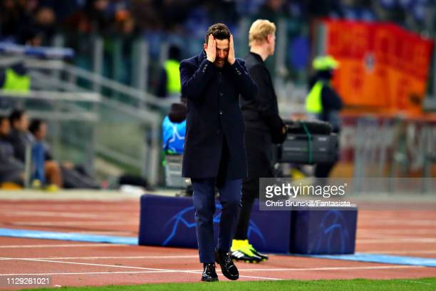 Manager of AS Roma Eusebio Di Francesco reacts during the UEFA Champions League Round of 16 First Leg match between AS Roma and FC Porto at Stadio...