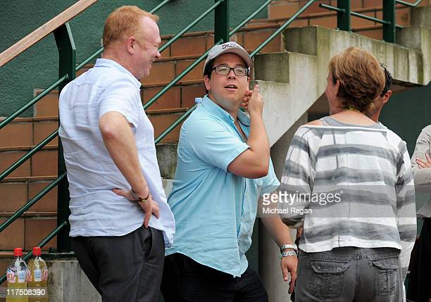 Manager of Aston Villa FC Alex McLeish, comedian Michael McIntyre and Judy Murray attend Day Seven of the Wimbledon Lawn Tennis Championships at the...