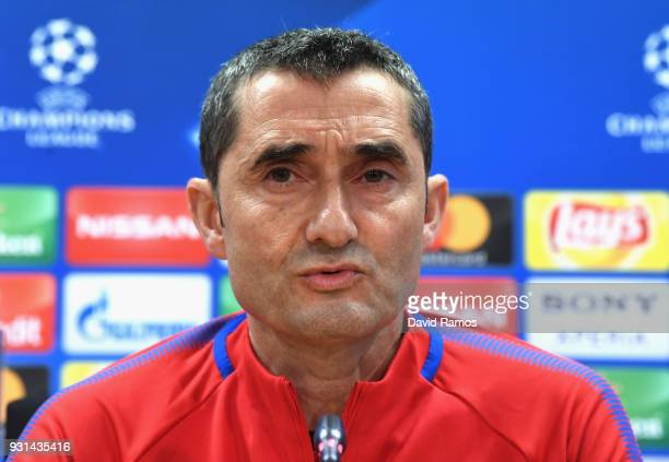 Manager of Barcelona Ernesto Valverde during a Barcelona during a Barcelona press conference ahead of their UEFA Champions League Round of 16 match...