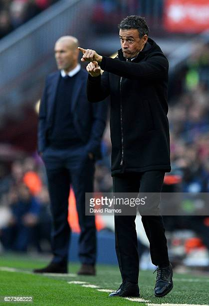 Manager of Barcelona Luis Enrique gestures during the La Liga match between FC Barcelona and Real Madrid CF at Camp Nou on December 3 2016 in...