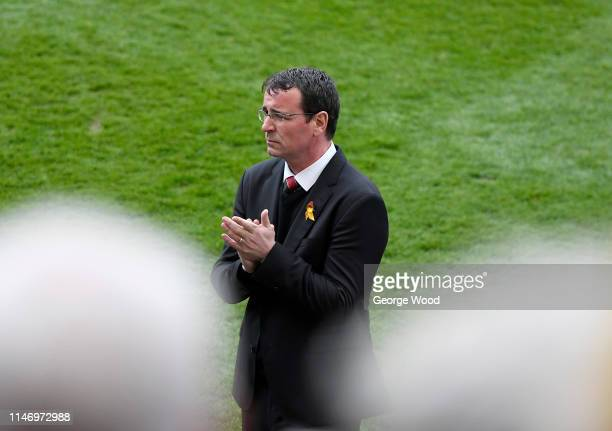 Manager of Bradford City Gary Bowyer acknowledges the fans following the Sky Bet League One match between Bradford City and AFC Wimbledon at Northern...