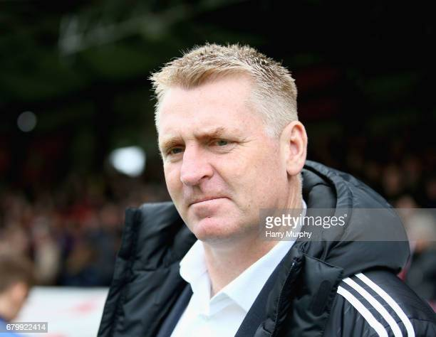 Manager of Brentford Dean Smith looks on prior to the Sky Bet Championship match between Brentford and Blackburn Rovers at Griffin Park on May 7 2017...