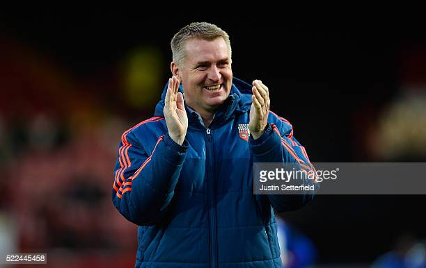 Manager of Brentford FC Dean Smith ahead of the Sky Bet Championship match between Brentford and Cardiff City on April 19 2016 in Brentford United...