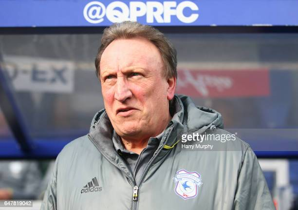 Manager of Cardiff City Neil Warnock looks on prior to the Sky Bet Championship match between Queens Park Rangers and Cardiff City at Loftus Road on...