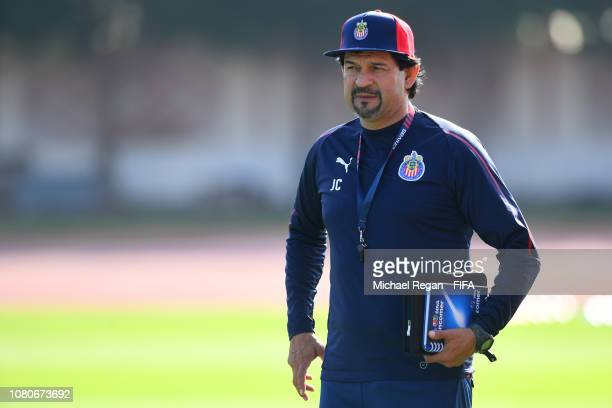 Manager of CD Guadalajara Jose Cardozo looks on during the CD Guadalajara training session ahead of the FIFA Club World Cup UAE 2018 on December 11...