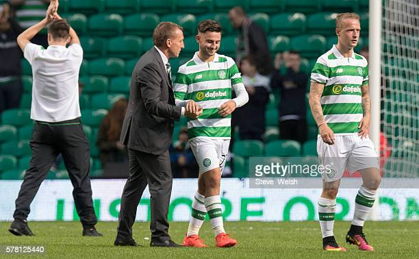 Manager of Celtic Brendan Rodgers shakes the hand of Patrick Roberts at the end of the match during the UEFA ChampioRs League Second Qualifying Round...