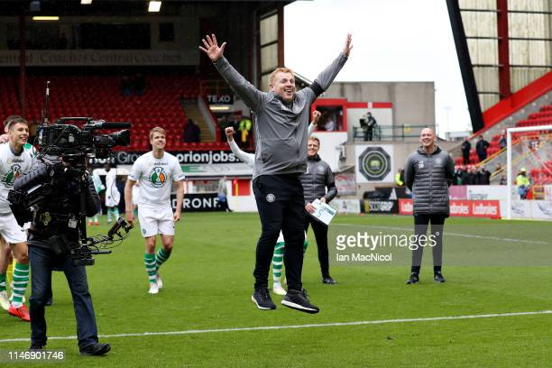 Manager of Celtic Neil Lennon celebrates as his side secured the Ladbrokes Scottish Premiership title after the Ladbrokes Scottish Premiership match...