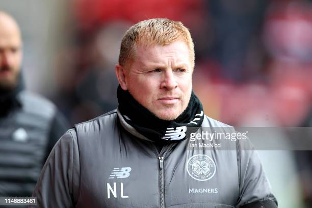 Manager of Celtic Neil Lennon walks to the dugout before the Ladbrokes Scottish Premiership match between Aberdeen and Celtic at Pittodrie Stadium on...