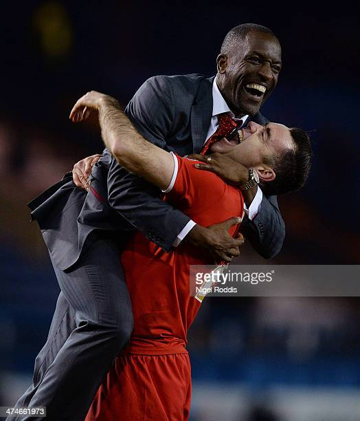 Manager of Charlton Athletic Chris Powell and Andy Hughes celebrate after winning the Budweiser FA Cup Fifth Round match between Sheffield Wednesday...