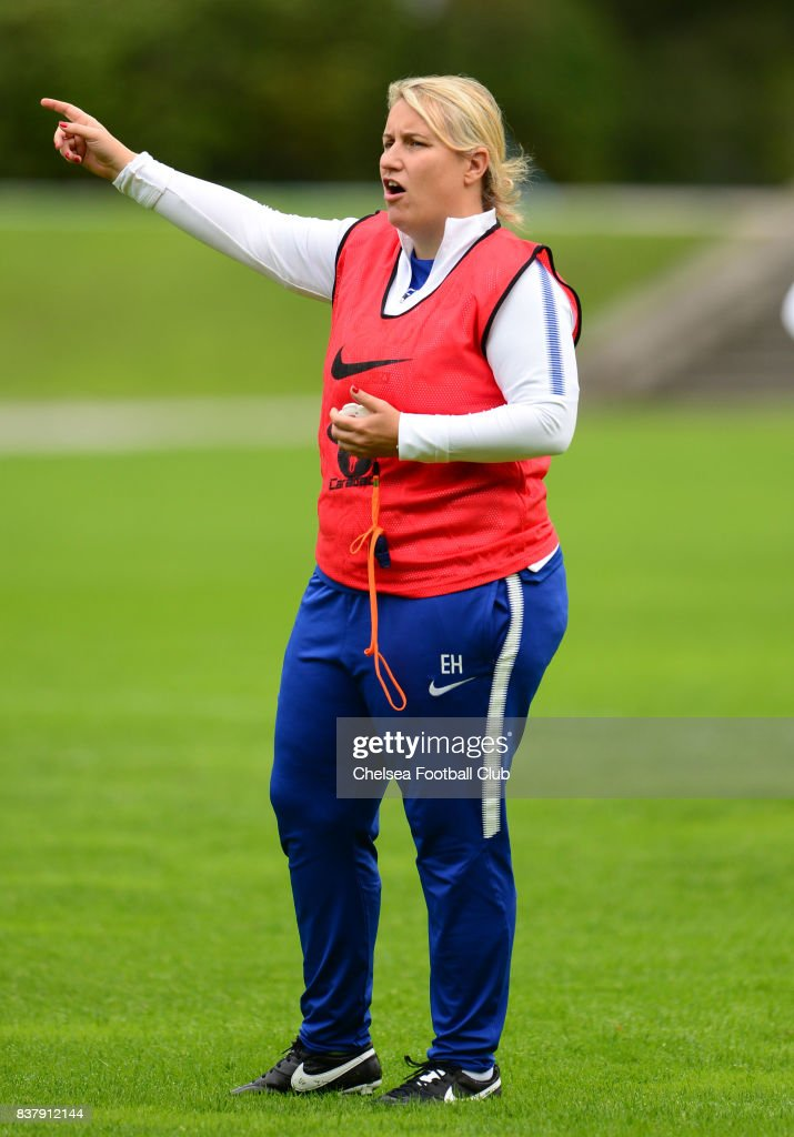 Manager of Chelsea, Emma Hayes during a training session on August 23, 2017 in Schladming, Austria.