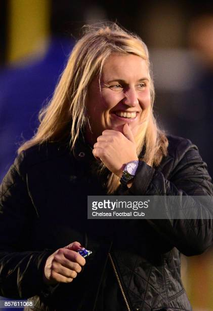 Manager of Chelsea Emma Hayes during the UEFA Women's Champions League match between Chelsea ladies and Bayern Munich at The Cherry Red Records...