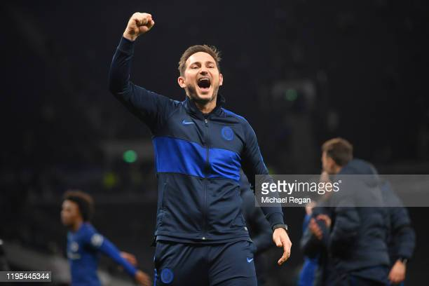 Manager of Chelsea, Frank Lampard celebrates after the Premier League match between Tottenham Hotspur and Chelsea FC at Tottenham Hotspur Stadium on...
