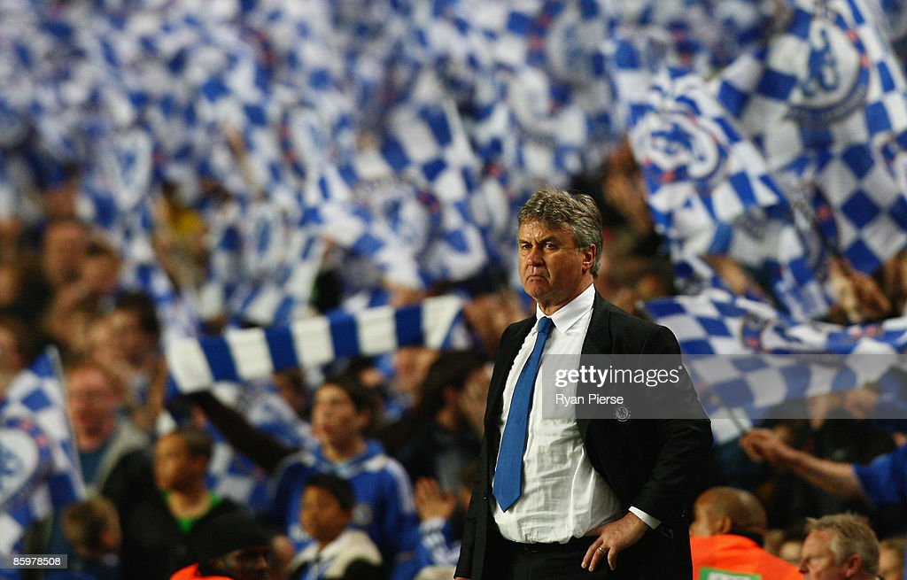 Manager of Chelsea Guus Hiddink looks on after the UEFA Champions League Quarter Final Second Leg match between Chelsea and Liverpool at Stamford Bridge on April 14, 2009 in London, England.