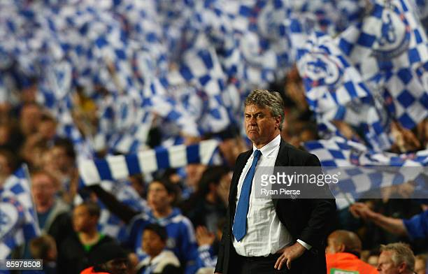 Manager of Chelsea Guus Hiddink looks on after the UEFA Champions League Quarter Final Second Leg match between Chelsea and Liverpool at Stamford...