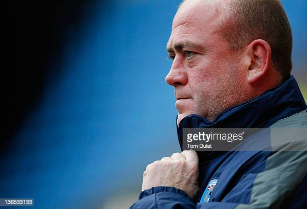 Manager of Coventry City Andy Thorn looks on prior to the FA Cup 3rd round match between Coventry City and Southampton at the Ricoh Arena on January...