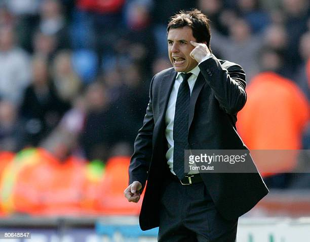 Manager of Coventry City Chris Coleman gives instructions during the Coca Cola Championship match between Coventry City v Stoke City at the Ricoh...