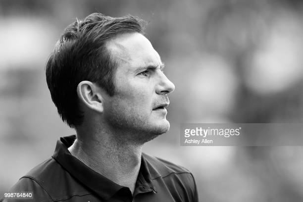 Manager of Derby County Frank Lampard looks on during a PreSeason match between Notts County and Derby County at Meadow Lane Stadium on July 14 2018...