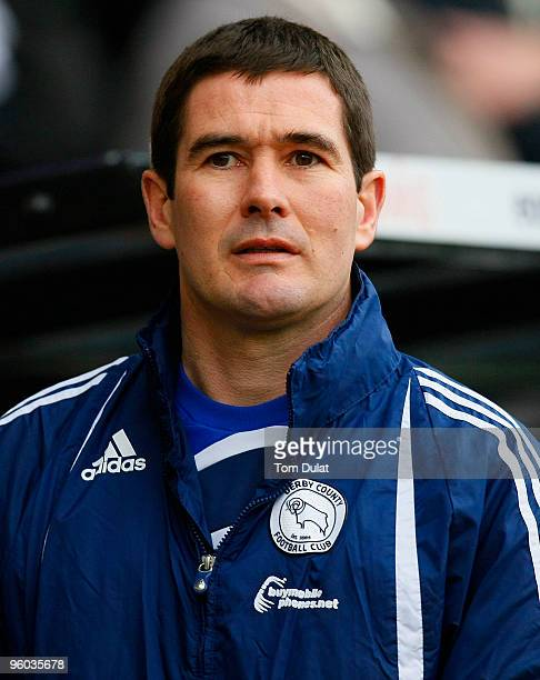 Manager of Derby County Nigel Clough looks on prior to the FA Cup 4th Round match sponsored by Eon between Derby County and Doncaster Rovers at Pride...