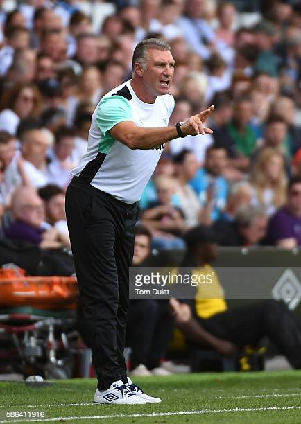 Manager of Derby County Nigel Pearson gives instructions during the Sky Bet Championship match between Derby County and Brighton Hove Albion at the...