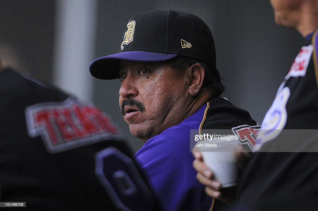Manager of Dorados de Chihuahua Francisco Rodriguez observes his players during a match against Diablos Rojos as part of the 2010 Mexican Baseball League at Foro Sol Stadium on June 26, 2010 in Mexico City, Mexico.