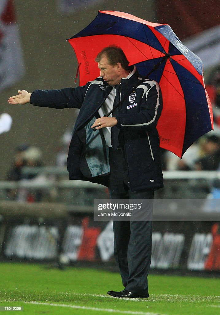 Manager of England Steve McClaren gestures during the Euro 2008 Group E qualifying match between England and Croatia at Wembley Stadium on November 21, 2007 in London, England.