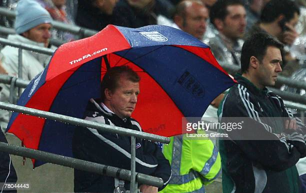 Manager of England Steve McClaren looks dejected during the Euro 2008 Group E qualifying match between England and Croatia at Wembley Stadium on...