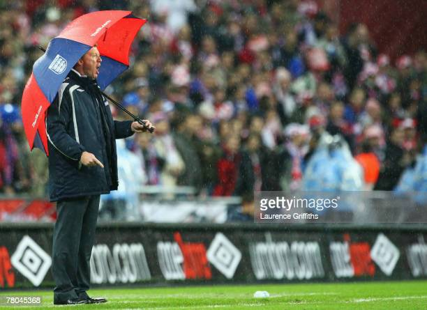 Manager of England Steve McClaren looks from the touchline during the Euro 2008 Group E qualifying match between England and Croatia at Wembley...