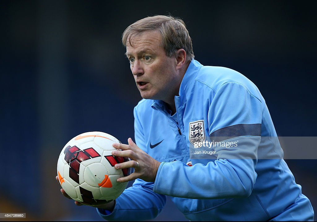 Manager of England U18 Neil Dewsnip looks on during the U18 International Friendly match between England U18 and Netherlands U18 at JD Stadium on September 5, 2014 in Bury, England.