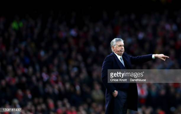 Manager of Everton Carlo Ancelotti gestures during the Premier League match between Arsenal FC and Everton FC at Emirates Stadium on February 23 2020...