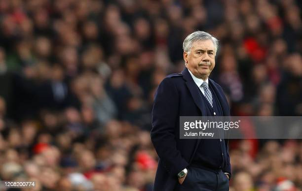 Manager of Everton Carlo Ancelotti of Everton looks on during the Premier League match between Arsenal FC and Everton FC at Emirates Stadium on...