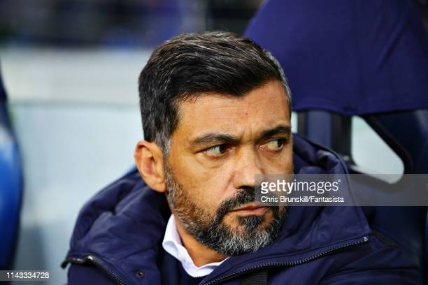 Manager of FC Porto, Sergio Conceicao looks on before the UEFA Champions League Quarter Final second leg match between Porto and Liverpool at Estadio...