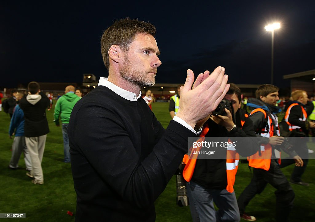 Manager of Fleetwood Town Graham Alexander at the final whistle during the Sky Bet League Two play off Semi Final second leg match between Fleetwood Town and York City at Highbury Stadium on May 16, 2014 in Fleetwood, England.