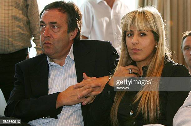 Manager of Franck Ribery Jean Piere Bernes and wife Wahiba Ribery during the press conference to announce his signing