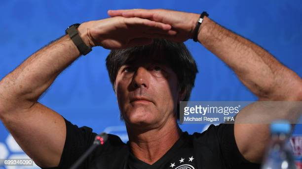 Manager of Germany Joachim Low looks on during the Germany Training Press Conference on June 21 2017 in Kazan Russia