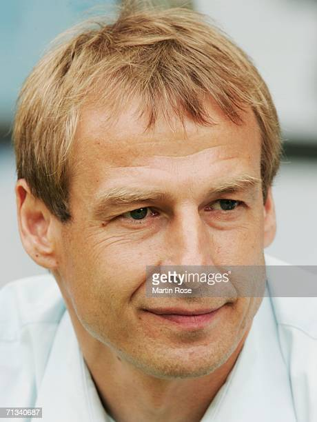 Manager of Germany Juergen Klinsmann looks on prior to the FIFA World Cup Germany 2006 Quarterfinal match between Germany and Argentina played at the...