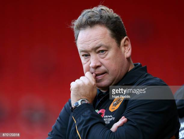 Manager of Hull City Leonid Slutsky looks on during the Sky Bet Championship match between Sheffield United and Hull City at Bramall Lane on November...