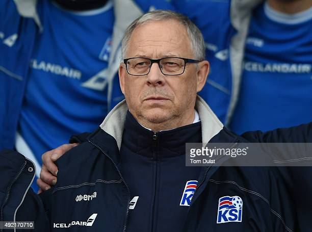Manager of Iceland Lars Lagerback looks on during the UEFA EURO 2016 Qualifier match between Iceland and Latvia at Laugardalsvollur National Stadium...
