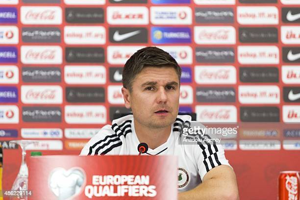Manager of Latvia national football team Marians Pahars delivers a speech during a press conference at Konya Metropolitan Municipality Torku Arena...