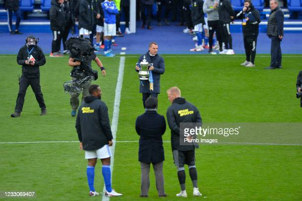 Manager of Leicester City Brendan Rodgers with the FA Cup at the end of the Premier League match between Leicester City and Tottenham Hotspur at The...