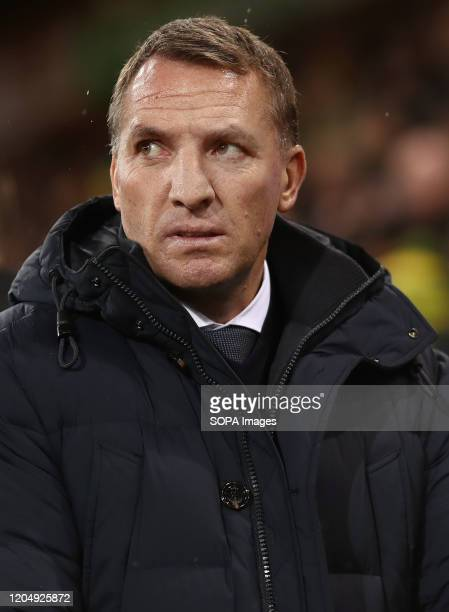 Manager of Leicester City Brendan Rogers looks on during the Premier League match between Norwich City and Leicester City at Carrow Road Final Score...