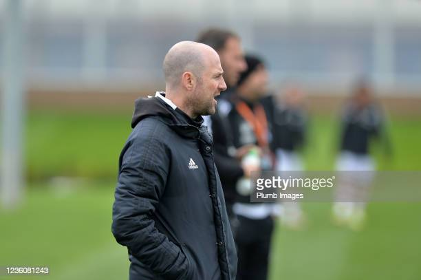 Manager of Leicester City U18s Adam Barrowdale during the Leicester City v Arsenal: U18 Premier League match at Seagrave on October 23, 2021 in...