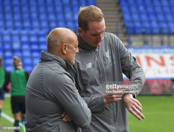 Manager of Liverpool FC Women Neil Redfearn with goalkeeper coach Chris Kirkland during the Liverpool FC Women v Manchester United Women game at...