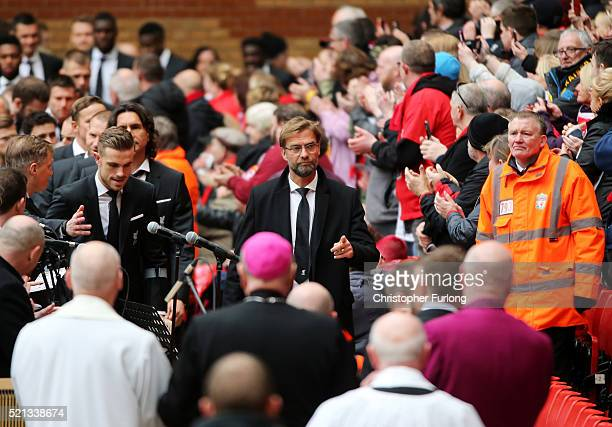 Manager of Liverpool Jurgen Klopp arrives for a memorial service to mark the 27th anniversary of the Hillsborough disaster at Anfield stadium on...