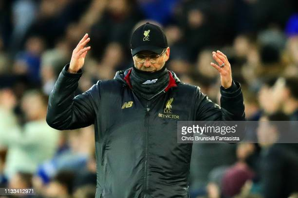 Manager of Liverpool Jurgen Klopp reacts during the Premier League match between Everton FC and Liverpool FC at Goodison Park on March 03 2019 in...